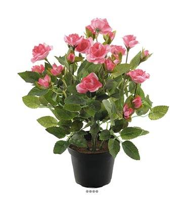 Rosier Rose Fushia artificiel en pot H 30 cm